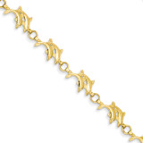 8in Solid Polished Open-Back Double Dolphins Bracelet 8 Inch 14k Gold FB367-8