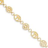 Chai & Star of David Bracelet 7 Inch 14k Gold FB469-7