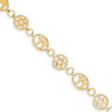 8in Solid Polished Star of David & Chai Bracelet 8 Inch 14k Gold FB469-8