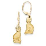 Satin Cat Dangle Leverback Earrings 14k Gold FB586E