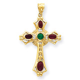 Ruby & Emerald Cabochon Cross Pendant 14k Gold FB597