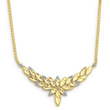 18in Solid Polished Diamond-cut Open-Back Fancy Necklace 18 Inch 14k Two-Tone Gold FB935-18