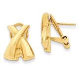 X Omega Back Post Earrings 14k Gold Polished H572