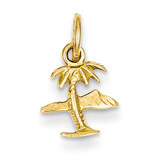 Island & Palm Tree Charm 14k Gold K1061