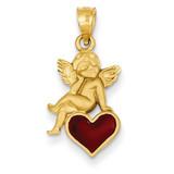 Enameled Angel on Heart Pendant 14k Gold K1147