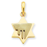 Chai on Star of David Pendant 14k Two-Tone Gold K1276