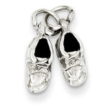 Baby Shoes Charm 14k White Gold K1342