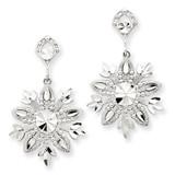 Snowflake Dangle Earrings 14k White Gold K1382