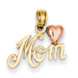 Polished Mom with Heart Pendant 14k Two-Tone Gold K1427