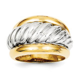 Polished Twisted Dome Ring 14k Two-Tone Gold K1462