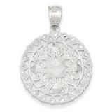 Diamond Cut Fancy Pendant 14k White Gold K1538
