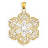 Diamond Cut Filigree Pendant 14k Gold Rhodium K1548