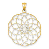 Diamond Cut Sphere Pendant 14k Gold Rhodium K1551