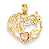 #1 Wife in Heart with Heart Pendant 14k Two-Tone Gold K1711