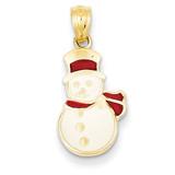 Enameled Snowman Pendant 14k Gold K1747