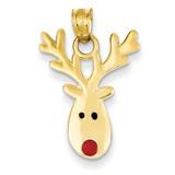 Enameled Reindeer Charm 14k Gold K1749