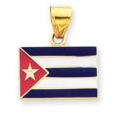 Enameled Cuba Flag Pendant 14k Gold K1765