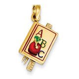 ABC School Book Pendant with Enamel 14k Two-Tone Gold K1787