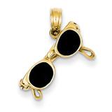 3-D Black Enameled Moveable Sunglasses Pendant 14k Gold K1868