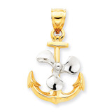 3-D Anchor with Moveable Propeller Pendant 14k Two-Tone Gold K1891