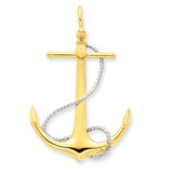 3-D Anchor with Entwined Rope Accent Pendant 14k Two-Tone Gold K1892