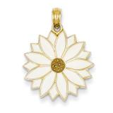 Enameled White Daisy Flower Pendant 14k Gold K1967