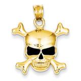 Enameled Skull Pendant 14k Gold K1994