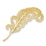 Filigree Feather Pin 14k Gold K2010