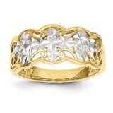 Diamond-cut Wave Ring 14k Gold Rhodium K2047