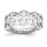 Diamond-cut Wave Ring 14k White Gold K2048