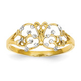 Diamond-cut Butterfly Ring 14K Gold & Rhodium K2067