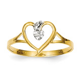 Cut-Out Heart Ring 14K Gold & Rhodium K2072