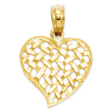 Basket Weave Heart Pendant 14k Gold K2521