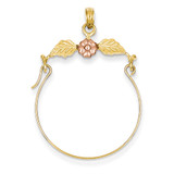 Leaves with Flower Charm Holder 14k Two-Tone Gold K2575