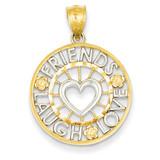 Rhodium Friends, Laugh, Love Circle Pendant 14k Gold K2600