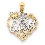 Rhodium Sweet 16 Pendant 14k Gold K2611
