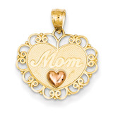Mom Heart Pendant 14k Two-Tone Gold K2622