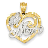 Rhodium #1 Mom Heart Pendant 14k Gold K2643