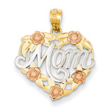 Rhodium Mom Heart Pendant 14k Two-Tone Gold K2657