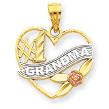 Rhodium #1 Grandma Heart Pendant 14k Two-Tone Gold K2672