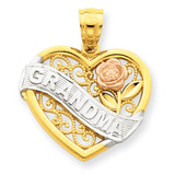 Rhodium Grandma Heart Pendant 14k Two-Tone Gold K2679