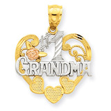 Rhodium #1 Grandma Heart Pendant 14k Two-Tone Gold K2683