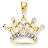 Rhodium Crown Pendant 14k Gold K2746
