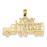 I Love My Trucker Truck Pendant 14k Gold K2819