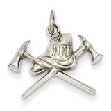 Fire Department Charm 14k White Gold K2831