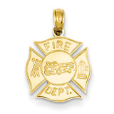 Fire Dept Shield Pendant 14k Gold K2841