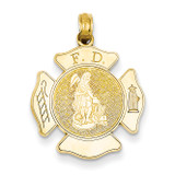 Large Fire Department Badge Pendant 14k Gold K2842