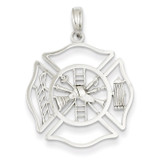 Fireman Shield Pendant 14k White Gold K2851
