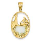 Imitation Opal Lighthouse & Sailboat Pendant 14k Gold K2857