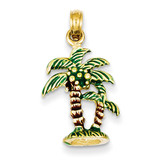 Enameled Palm Trees Pendant 14k Gold K2890